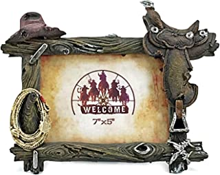 Bellaa 24285 Western Picture Frame Cowboy 7x5 Country Rustic