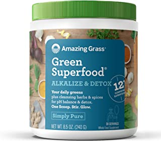 Amazing Grass Green Superfood Alkalize & Detox: Organic Plant Based Powder with Active Probiotics, Greens and Wheat Grass, 30 Servings