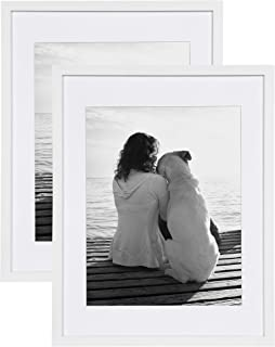 DesignOvation Gallery Wood Photo Frame Set for Customizable Wall Display, Pack of 2, 14x18 matted to 11x14, White