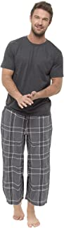 STC Stores Mens Short Sleeve T Shirt and Long Checked Bottoms Pyjama / Lounge Set