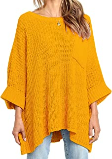 KIRUNDO Women's Winter Long Knitted Sweater Dress Off Shoulder 3/4 Sleeves Oversized Loose Solid Color Pullover