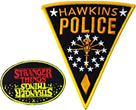 Stranger Things Yellow/Red Oval Police 2PK Iron On Patch InspireMe Family Owned