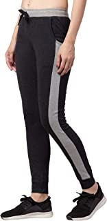 American-Elm Dark Grey Slim Fit Cottton Track Pant for Women | Designer Tights for Women (L.Grey, D.Grey_M)