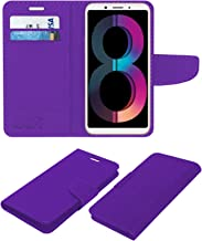 Acm Leather Flip Wallet Case Compatible with Oppo A83 (2018 Edition) Mobile Cover Purple