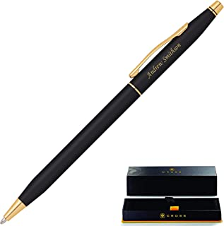 Personalized Cross Pen | Engraved Cross Classic Century Black Ballpoint Pen with Gold Trim 2502. Custom Engraved By Dayspring Pens!