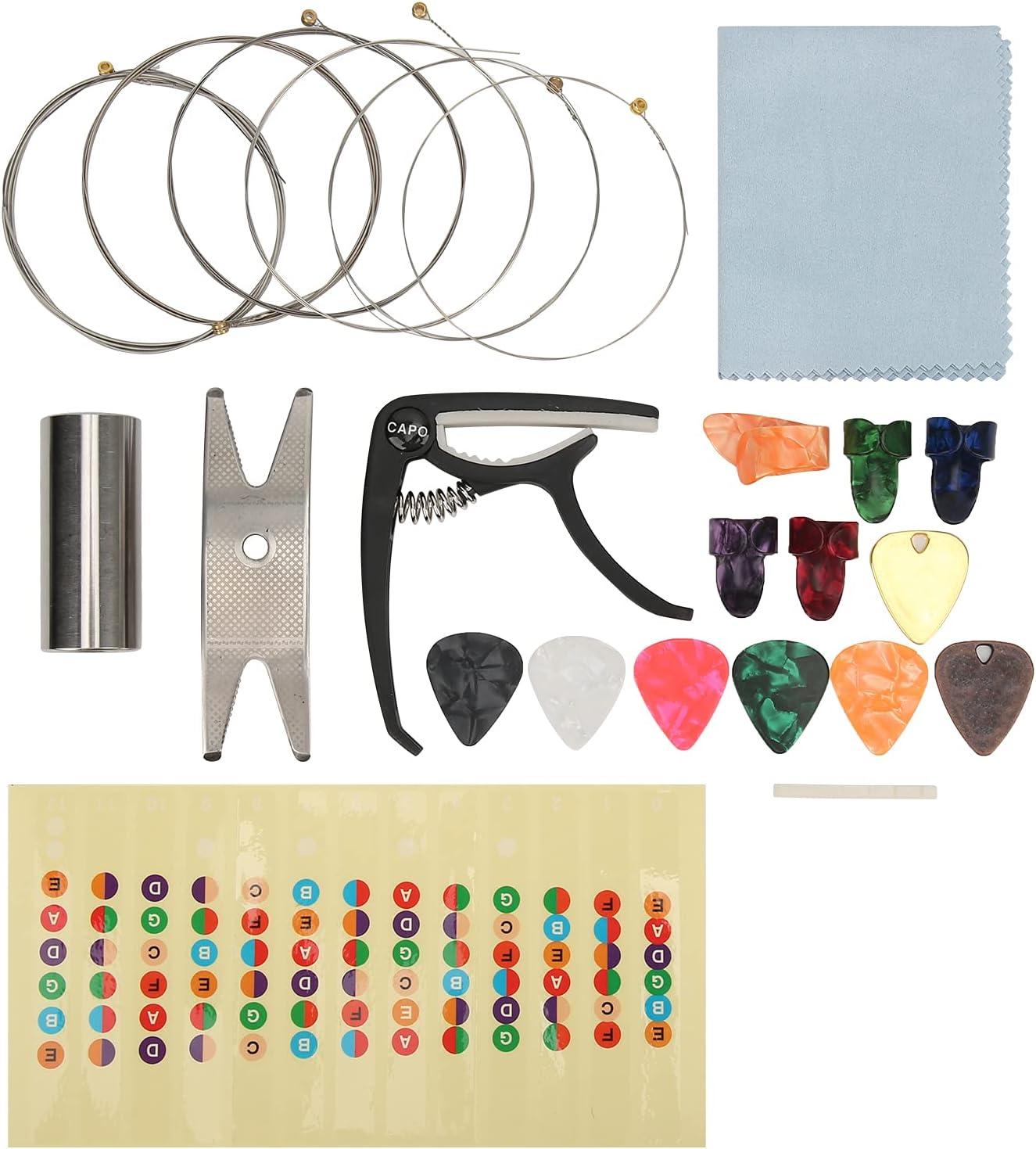 Kit de accesorios de cambio de herramienta de guitarra eléctrica para principiantes que incluye cejilla, cuerda de guitarra eléctrica, púas de guitarra, pegatina de escala de guitarra, cuna de celuloi