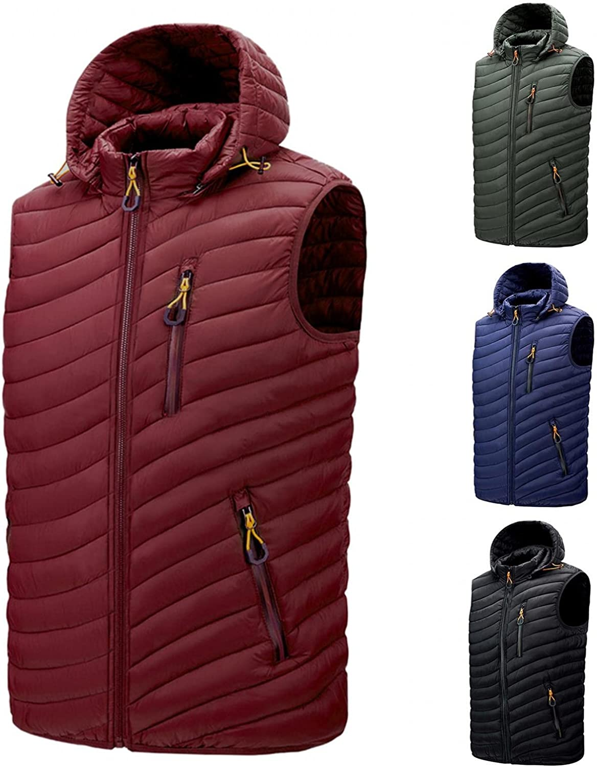 Huangse Sleeveless Hoodie for Men Autumn Winter Puffer Vest Coat Padded Vest Warm Hooded Thick Tops Jacket