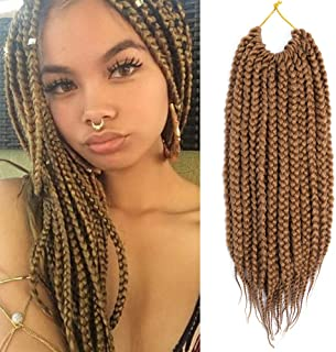 VRHOT 6Packs 12 inch Box Braids Crochet Hair Prelooped Synthetic Hair Extensions Twist Crochet Braids Braiding Hair Brown Short Dreadlocks for Black Women(12 inch, 27#)