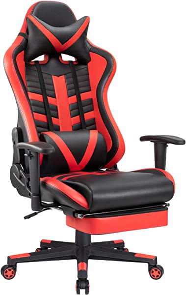 JUMMICO Gaming Chair Ergonomic Racing Chair Pu Leather High Back Swivel Computer Desk Chair With Footrest Headrest And Lumbar Support Red
