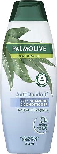 Palmolive Naturals Anti Dandruff 2 in 1 Hair Shampoo & Conditioner Tea Tree + Eucalyptus for Dandruff Prone Hair Clin...