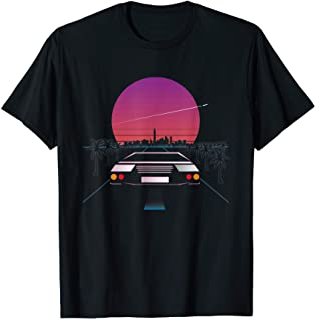 スポーツカーレトロウェーブシンセウェーブ美学 Tシャツ