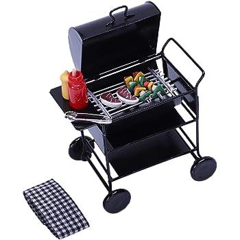 Handgefertigte 1//12 Puppenhaus Miniatur Grillmöbel BBQ Grill Set mit