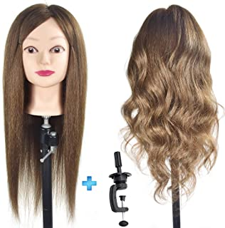"ErSiMan Female Cosmetology Mannequin Head with 100% Human Hair 20""-22"" Manikin Head for Brading Hair Hairdressing Training Head Doll Head with Clamp"