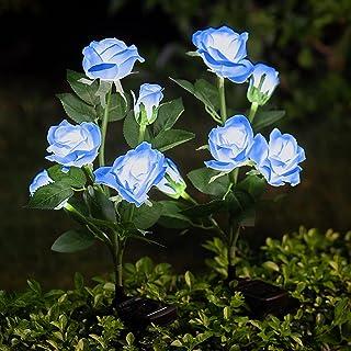 Outdoor Solar Garden Flower Lights, 2 Pack Artificial Rose LED Stake Lights Waterproof Solar Powered Decorative Lighting f...