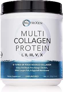 Multi Collagen Powder - Unflavored - 16oz - Lab Tested - Grass Fed Beef, Wild Caught Fish, Cage Free Chicken & Eggshell Membrane - 5 Collagen Protein Powder, Dairy Free, Non GMO, Collagen Supplements