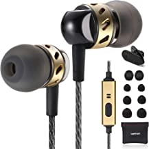 Betron AX5 Earphones with Microphone, Noise Isolating, Bass Driven Sound, Portable in Ear Headphones, Compatible with iPhone, iPad, MP3 Players, Tablets, Samsung and Other Android Devices, Black