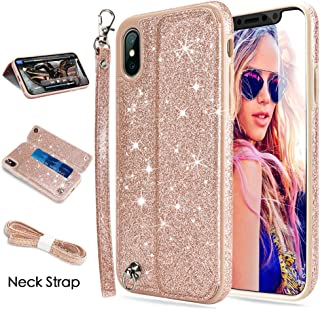 iPhone X Case,iPhone XS Case,iPhone X&XS Wallet Case, CASEOWL iPhone X&XS Case Wallet Leather Flip Card Slots,Wristlet,Neck Strap,Kick-Stand,Shockproof Slim Case for iPhone X/XS/10/10S-Bling Rose Gold