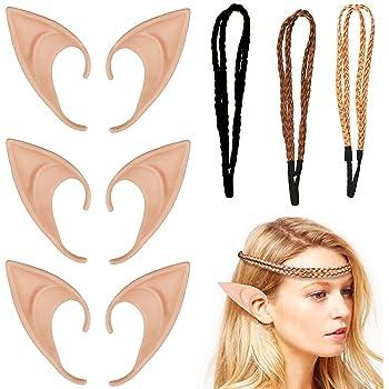 Elf Ears Set Morbide e Confortevoli 2 Paia di Orecchie da Elfo in Lattice con 2 Fasce per Capelli per il Costume di Carnevale dI Halloween non Facili da Cadere Orecchie Elfo