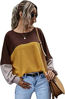 Women's Long Sleeve Tshirts Ladies Crewneck Colour Block Casual Baggy Batwing Tunic Tops Blouse Tee Shirts Tee (Color : Or...
