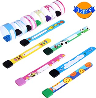 LOCOLO 12 Pieces Child Safety Wristband, Waterproof and Reusable Safety ID Band for Kids, Design: Adjustable, Lovely, Multiple Styles