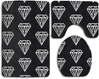 Tub-Shower Bath Rug Set 3 Piece - Memory Foam Shower Mat - Absorbent Contour Mat and Lid Cover - Non Skid Machine Tub and Shower Quick Dry Black Diamond Rug Mat