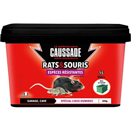Caussade CARSBLBF300 Anti Rats & Souris | 15 Blocs | Lieux Humides | Garage Cave | 300g | Espèces résistantes | Efficacité Maximale