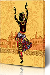 Ahawoso Canvas Prints Wall Art 8x12 Inches Dancer Pattern Indian On Red City Dance South Culture India Design Wooden Frame Printing Home Living Room Office Bedroom