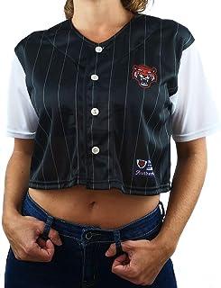 Uissos Camiseta Béisbol de Mujer Botones Manga Corta Talla Única para Chica