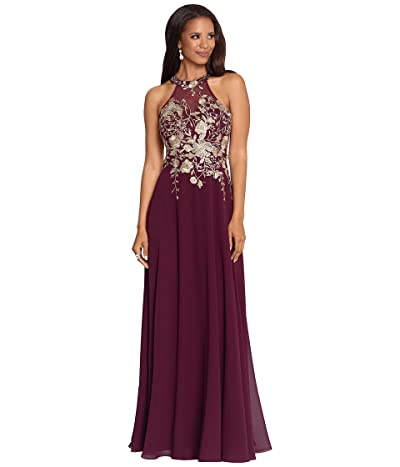 Betsy & Adam Long Embroidered Halter Chiffon Gown