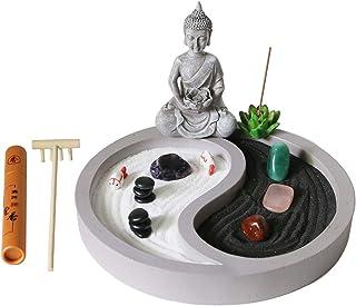 Mini Zen Garden kit for Desk - yin yang Crystal Sand Garden - with Zen rake Buddha Statue Healing Stones White Sand - Japa...