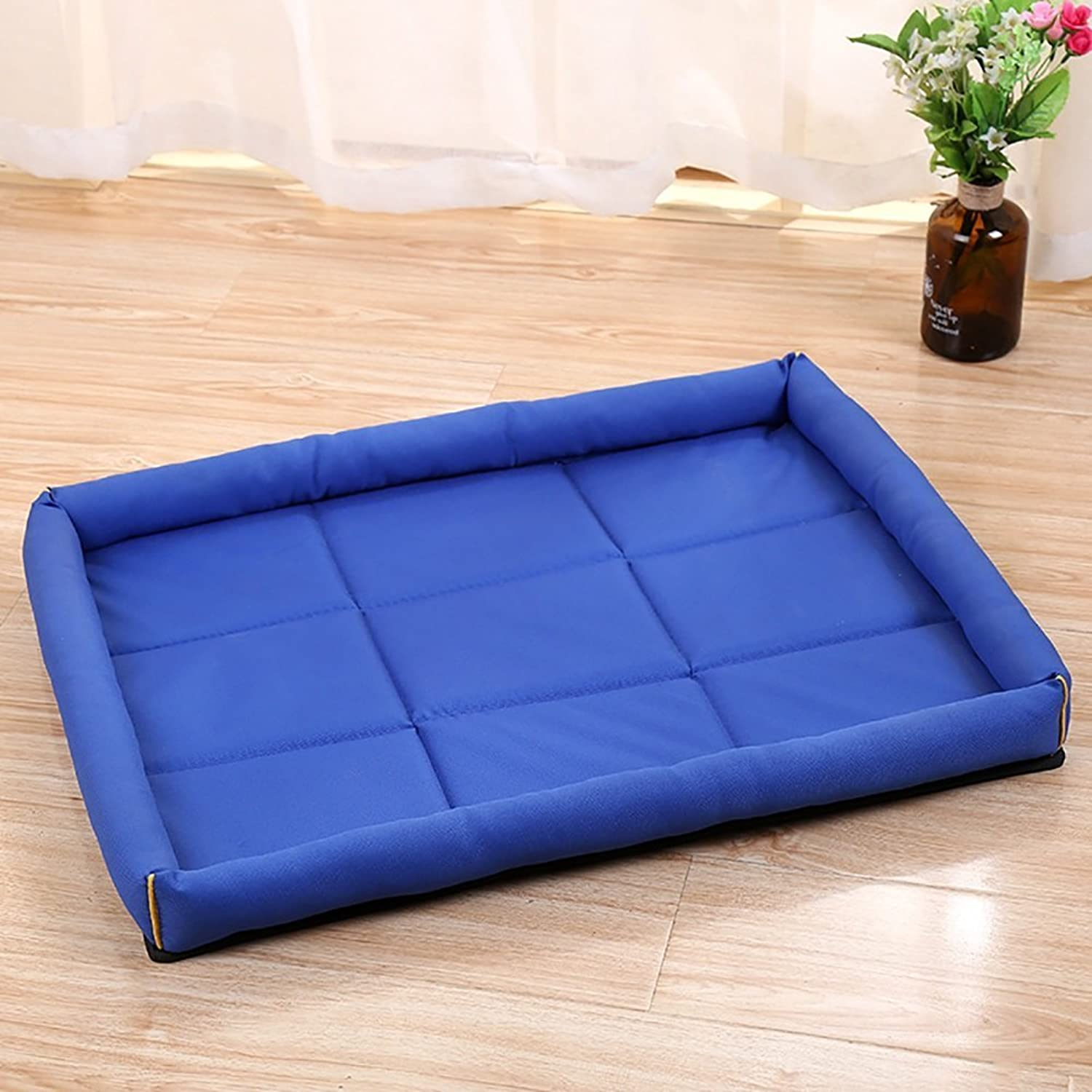 Pet Nest,waterproof Cushion Rectangular Openair Pet Nest Square Waterloo Large Dog Bed Cat Mat 4 color & 4 Size (color   Dark bluee, Size   64x49cm)