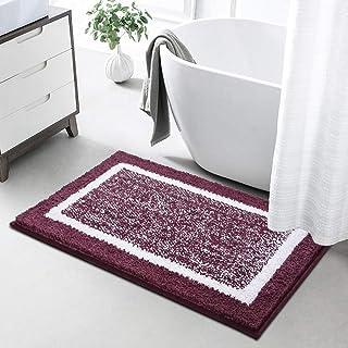 Color&Geometry バスマット 玄関マット 吸水 速乾 足ふきマット 滑り止め付 丸洗える お風呂 ドア ふわふわ(パープル, 40*60cm)