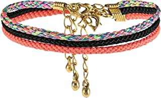 Alwan-Accessories Gold Plated Set of 3 Medium Size Anklets for Women - EE3436GPBLML
