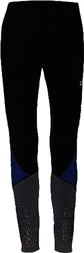 TAO Sportswear, zentour ION Acceleration Collant brossé doublés Motif Collant de Course Thermique Hiver, Noir Bleu gris
