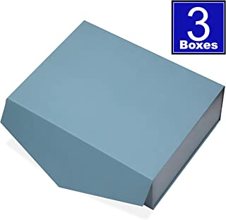 Cohaja Matte Blue Gift Box with Magnetic Lid | 3 Pack | 12 x 9 x 4 Inch | Multiple use | Decorative Gift or Storage Boxes for Groomsmen Proposal, Favors, Weddings, Office and More
