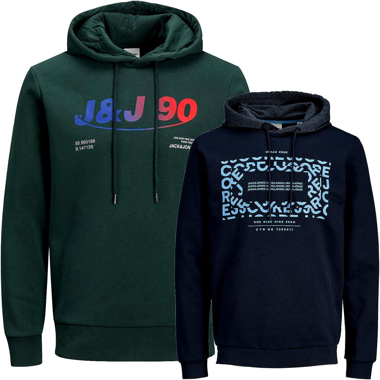 JACK /& JONES Kapuzenpullover  2er Pack  Hoodie Sweat Herren Baumwollmix