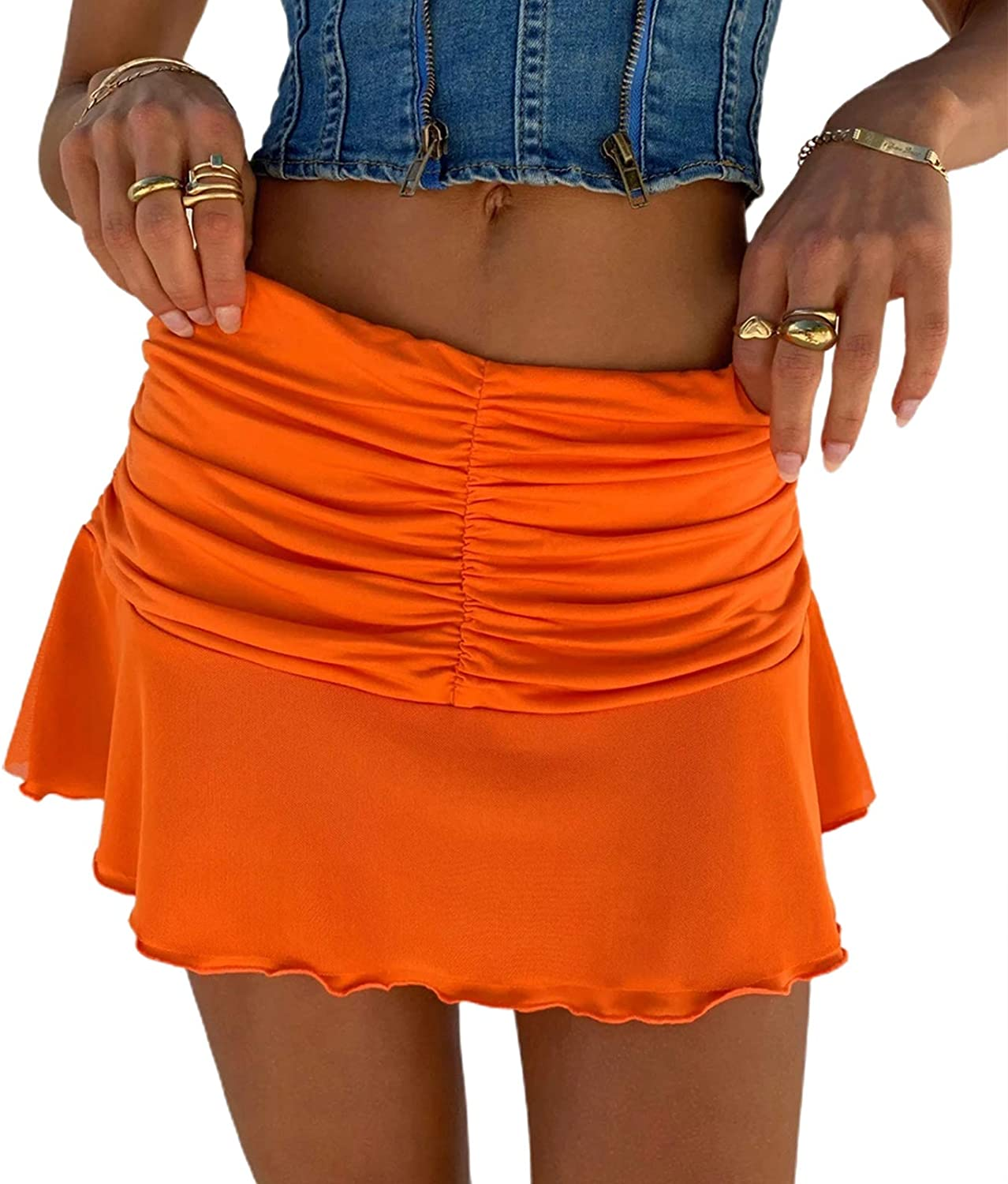 Women Y2K Casual A-line Pleated Skirts High Waist Casual Short Skirts Solid Color Lady Wave Mini Skirts Summer Beachwear