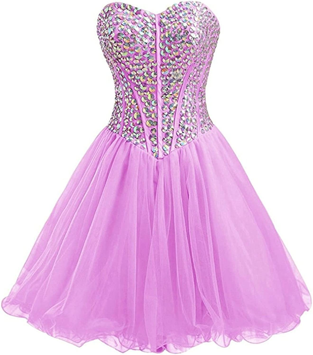 Vantexi Women's Sweetheart Tulle Homecoming Dress Short Party Prom Gown