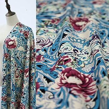 Tela de tela para coser por metro - Tela bohemia de algodón y lino de flores grandes ropa tela de lino 0,5 m: Amazon.es: Bebé