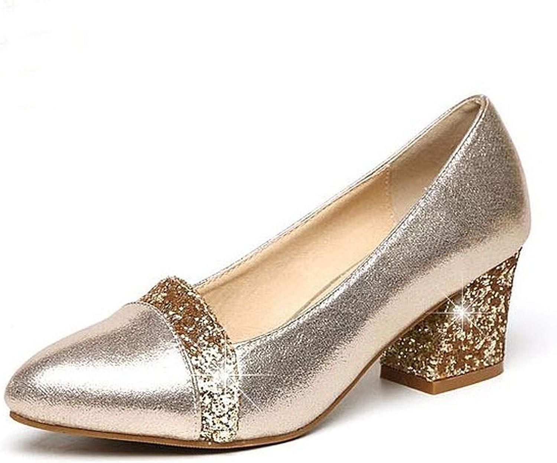Spring Women Pump shoes Patch color Square Toe 6cm Thick Heel Career shoes golden Black Size 34-41