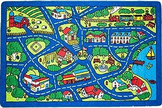 Mybecca Fun Kids Rug Street MAP Blue Design for Playroom & Nursery (Approx. 5 Ft. X 7 Ft.)