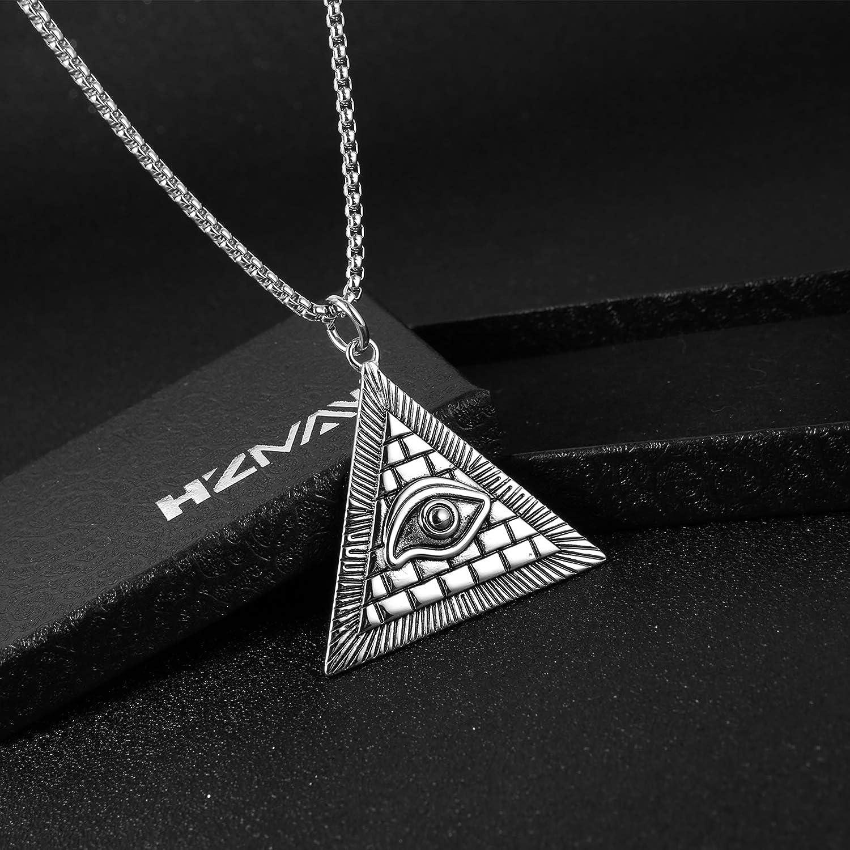 "HZMAN Men Stainless Steel Pendant Necklace The All-Seeing-Eye Illuminati Eye of Providence Pyramid/Eye Symbol 22+2"" Chain"