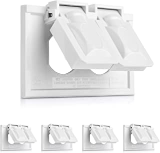 Cable Matters UL Listed 5-Pack Weather Resistant Duplex Wall Plate with Flip Covers, Horizontal Outdoor Outlet Cover in White