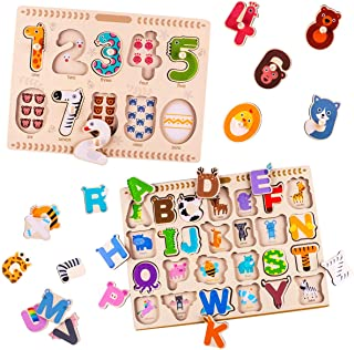iPlay, iLearn Kids Wooden Peg Puzzles Play Set, Alphabet, ABC, Numbers 123, Knob Jigsaw Board, Magnetic Letters, Counting ...
