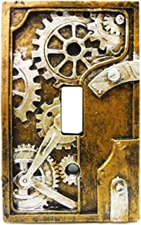 4.25 Inch Resin Steampunk Light Switch Plate Cover, Gray/Gold