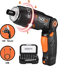 Electric Screwdriver, TACKLIFE Cordless Rechargeable Screwdriver 4V,2.0 Ah Lithium Ion Battery ,3 Flexible Position and 6 Torque Setting, Front LED with USB and Rear Flashlight-SDH13DC
