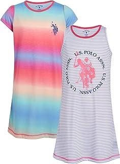 U.S. Polo Assn. Girls' Pajamas - 2 Pack Sleep Shirt Nightgown (Little Girl/Big Girl)