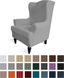 Easy-Going Stretch Wingback Chair Sofa Slipcover 1-Piece Sofa Cover Furniture Protector Couch Soft with Elastic Bottom Spandex Jacquard Fabric Small Checks(Wing Chair,Light Gray)