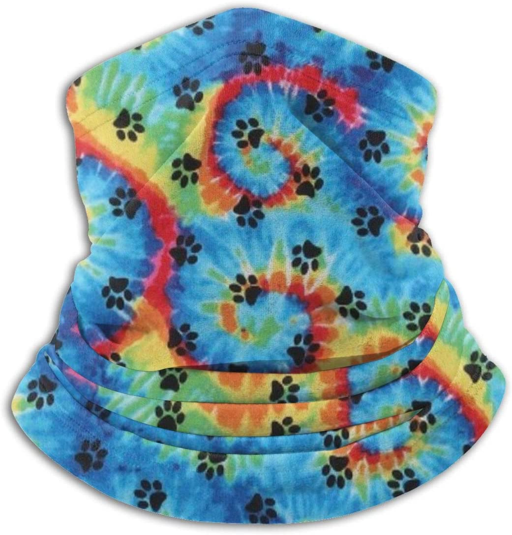 CLERO& Scarf Fleece Neck Warmer Tie Dye Paws Prints Rainbow Paw Print Windproof Winter Neck Gaiter Cold Weather Face Mask for Men Women