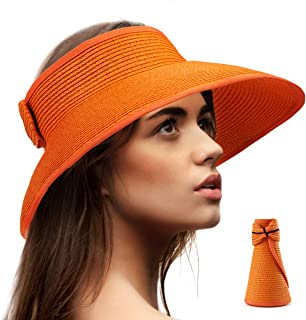 Foldable Sun Visors for Women - Beach Hat Wide Brim Sun Hat Roll-Up Straw Hat